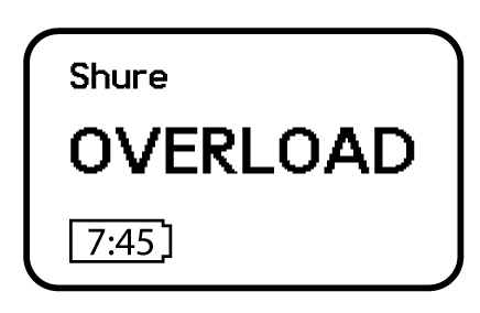 The overload message on a transmitter screen