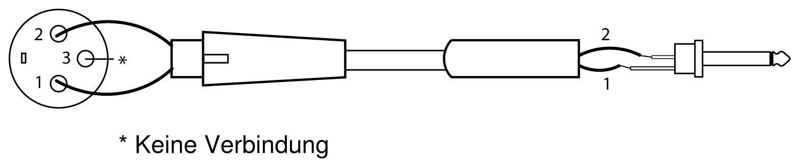 A wiring diagram of an XLR connected to a 1/4 output