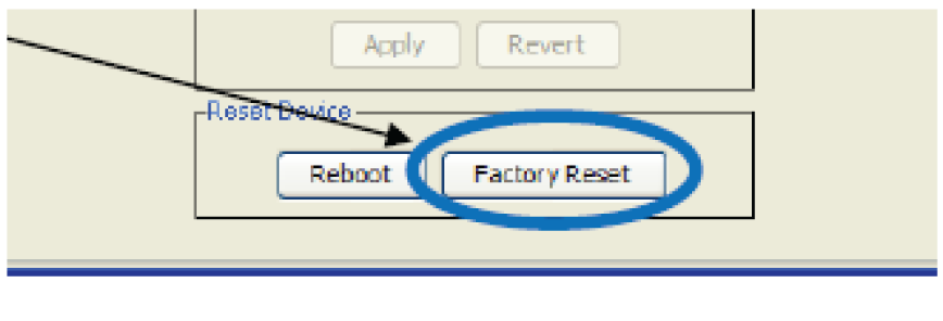 The factory reset button in the Dante controller