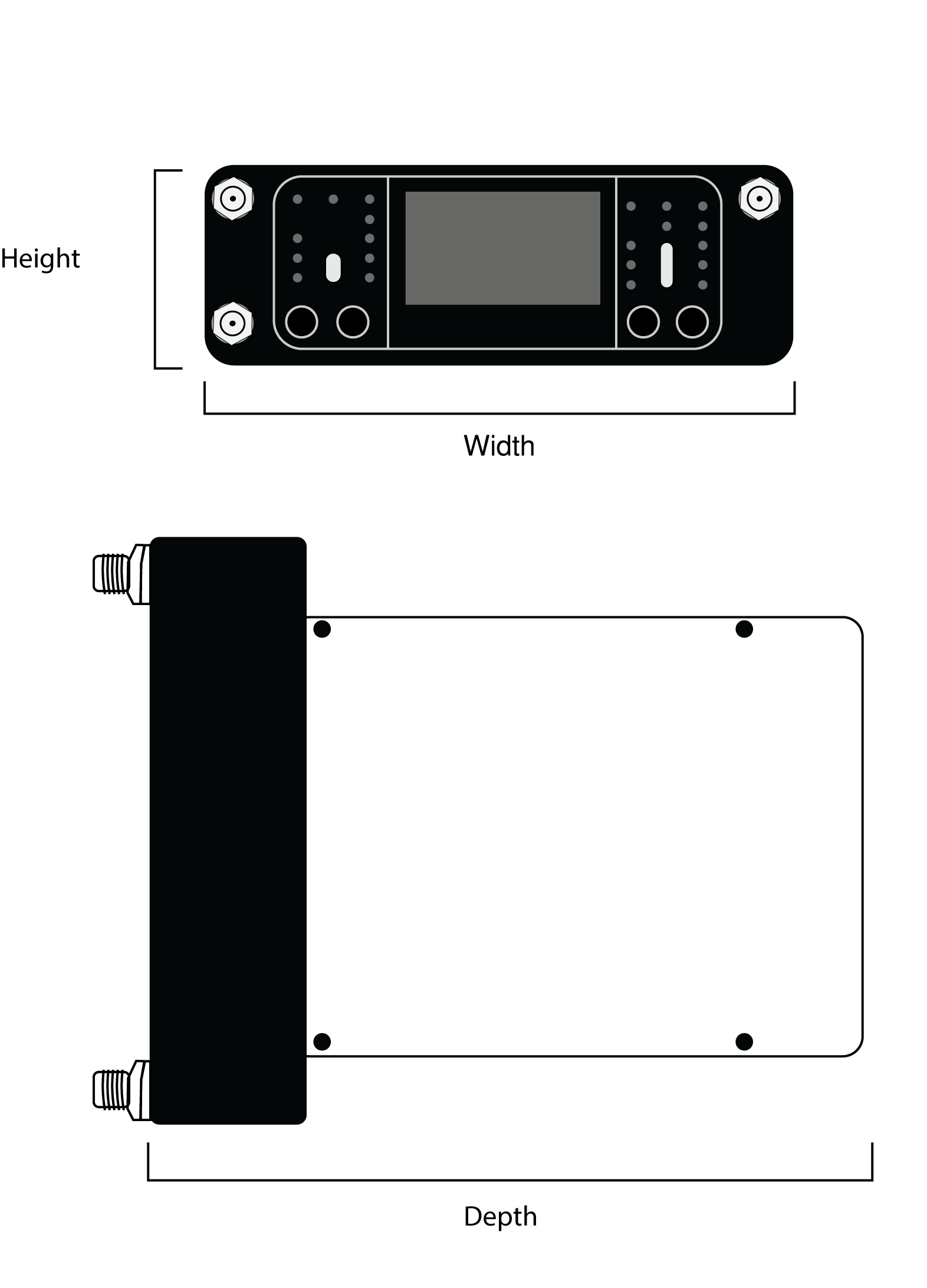 """Dimensional drawing of ADX5D receiver, specifying """"height"""" as the top-to-bottom measurement of the front place, """"width"""" as the side-to-side measurement of the front plate, and """"depth"""" as the front-to-back measurement of the receiver with no backplate attached."""