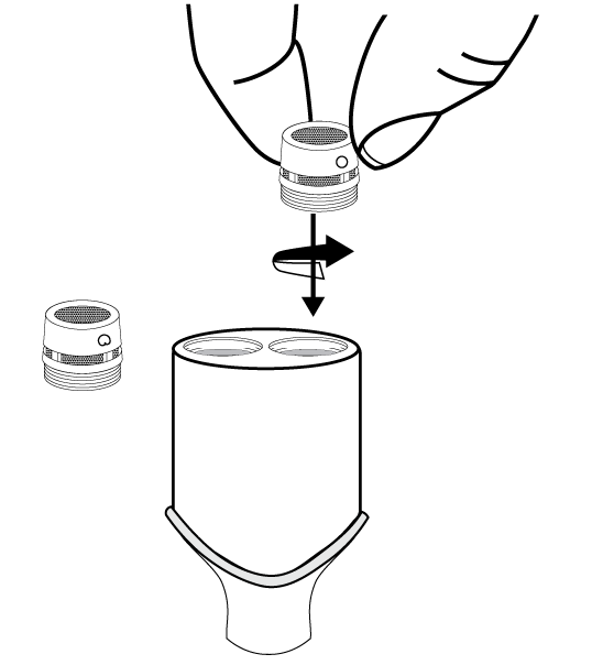 Illustration demonstrating how to change microphone cartridges.