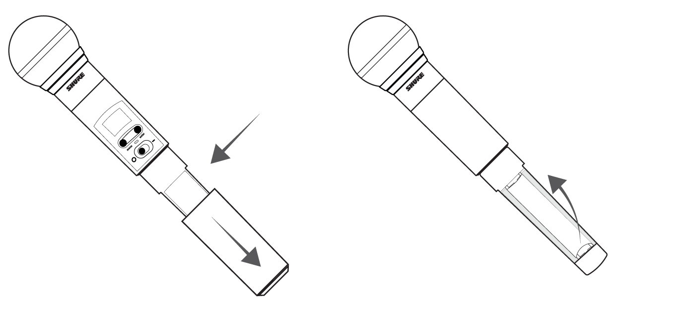 Illustration of the battery cover and compartment for the SLXD2 handheld receiver.