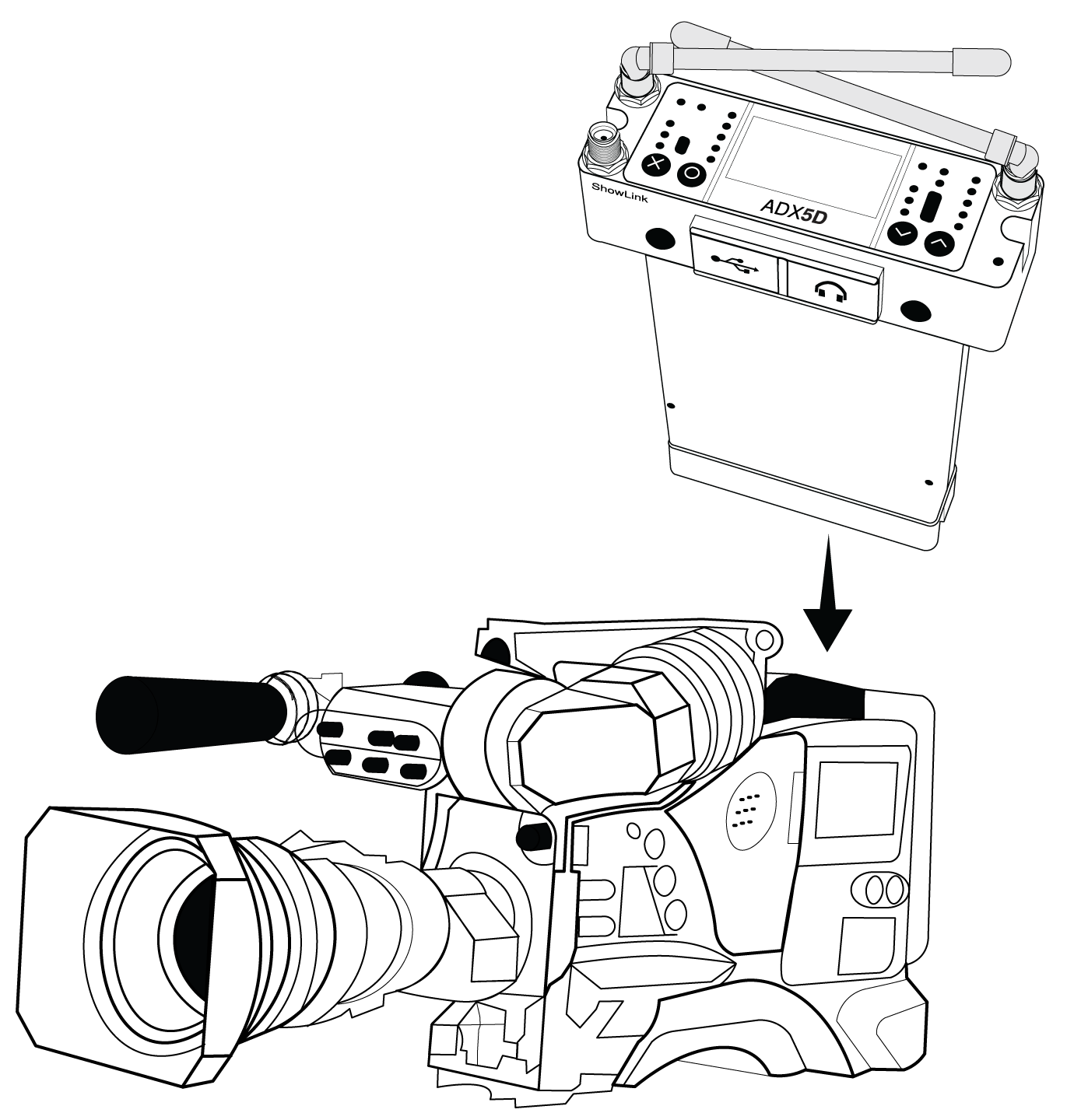 ADX5D being inserted into a DB25-compatible video camera