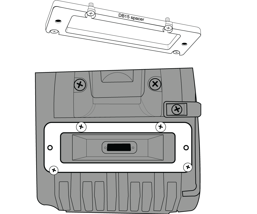 Diagram showing proper attachment of the DB15 spacer plate