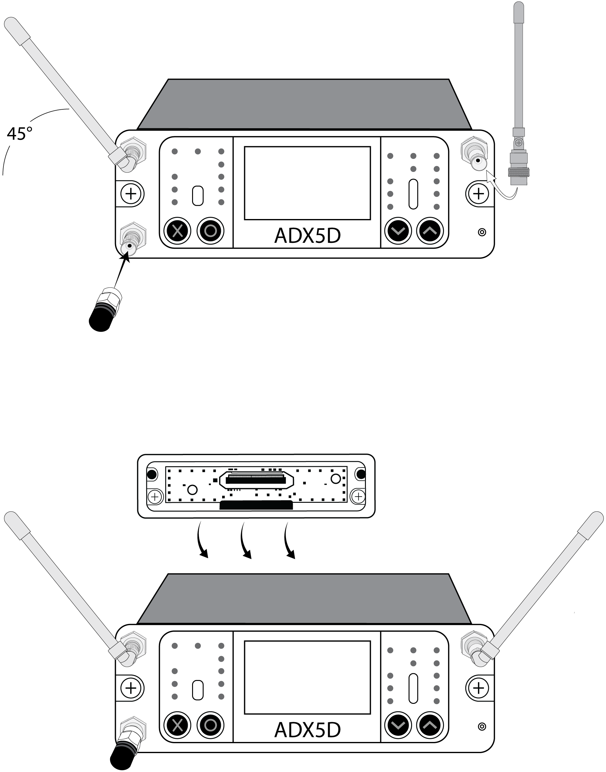 The antennas, backplate, and ShowLink antenna being attached to an ADX5D