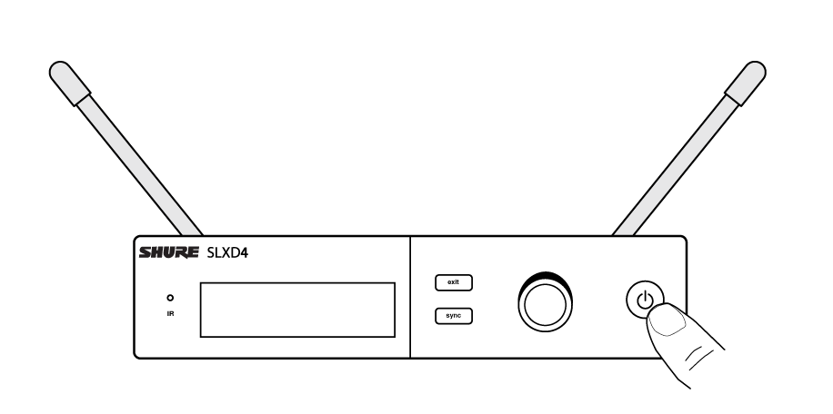 Diagram showing the power button on the front of the SLXD4 receiver.