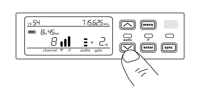 A finger pushing the arrow on the receiver to adjust the gain