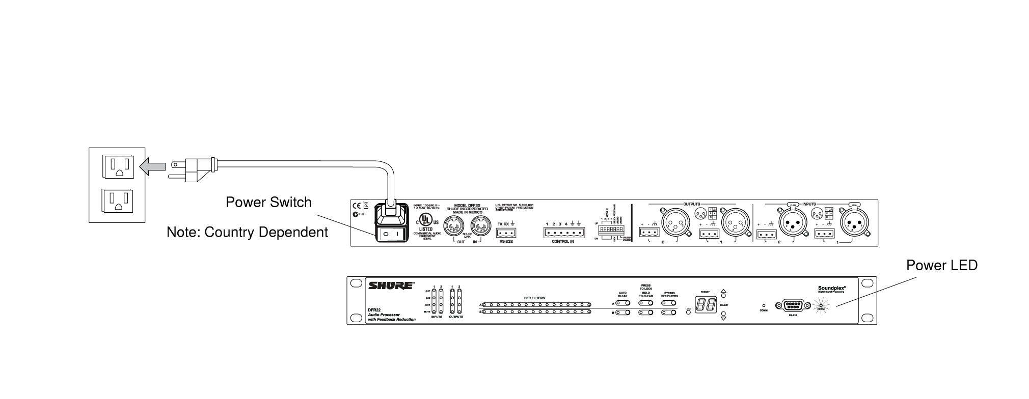 Shure Publications User Guides Dfr22 Audio Rotary Switch Wiring Figure 6 Power Connection