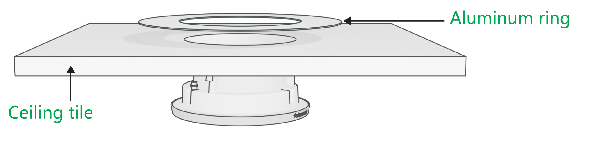 A Stem Speaker being inserted through a prepared ceiling tile, with the aluminum ceiling mount ring on top.