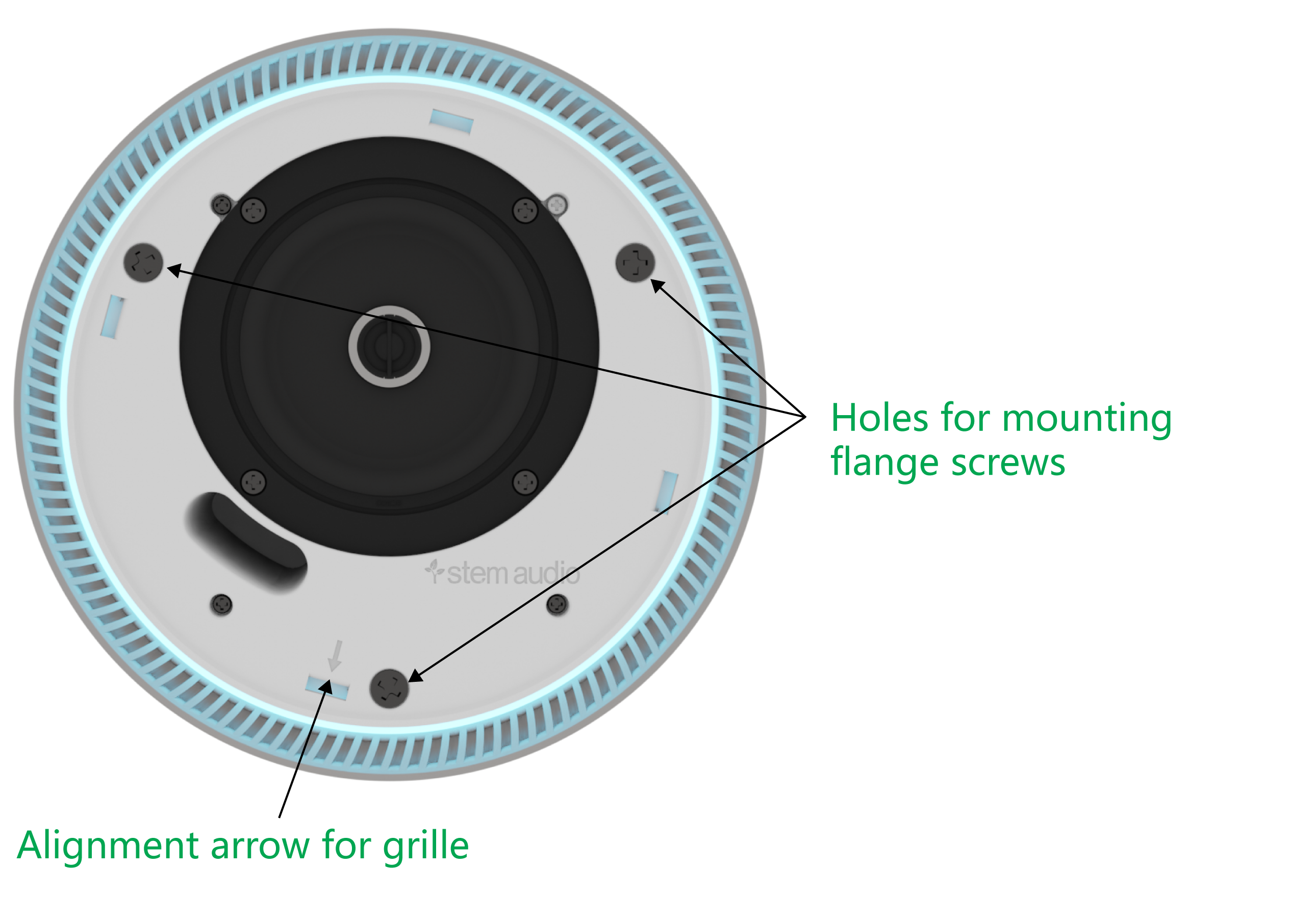 An image of the Stem Speaker with the grille removed, indicating notable features.