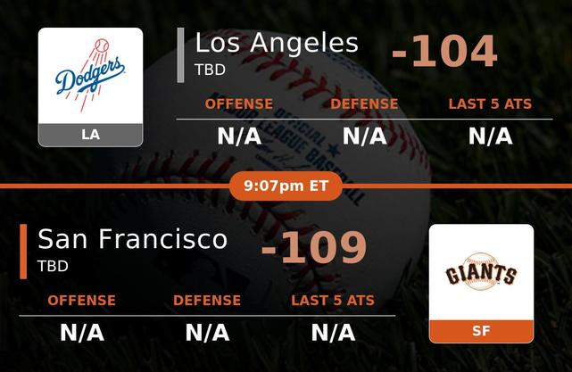Los Angeles Dodgers vs San Francisco Giants stats