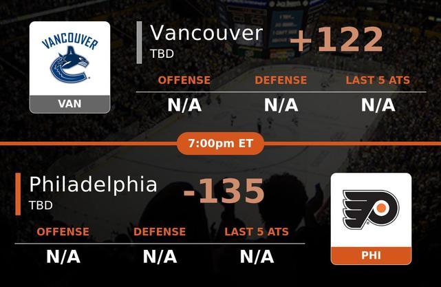 Vancouver Canucks vs Philadelphia Flyers stats