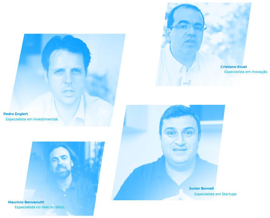 Imagem com fotos dos professores do curso online Startup de A a Z