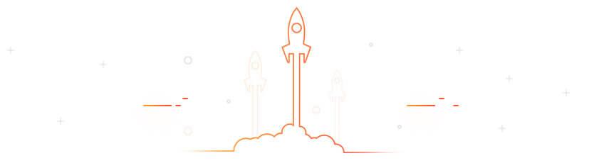 Imagem de um foguete na cor laranja