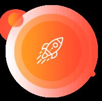 Ícone de um foguete branco por cima de um círculo laranja