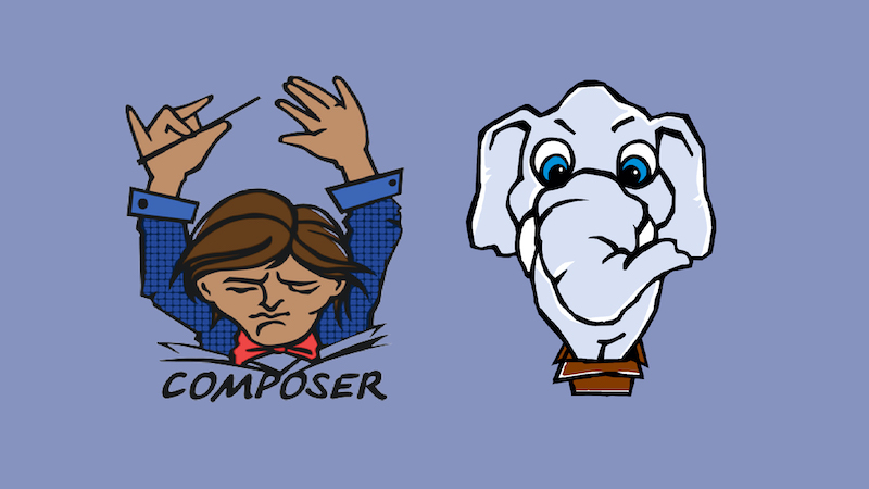 The Composer logo with the Packagist logo on a purple background.