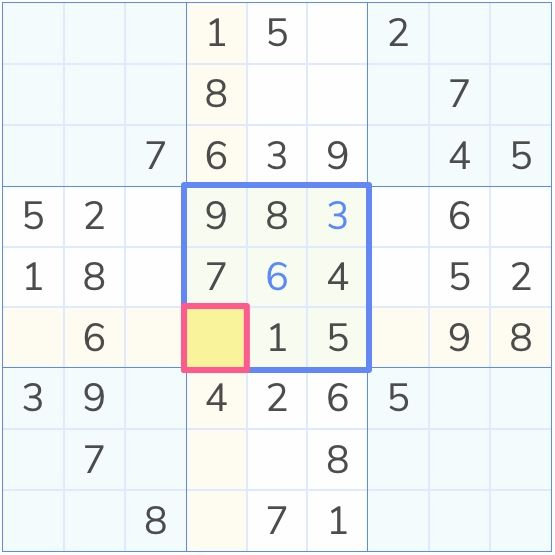 a sudoku board with an empty marked cell