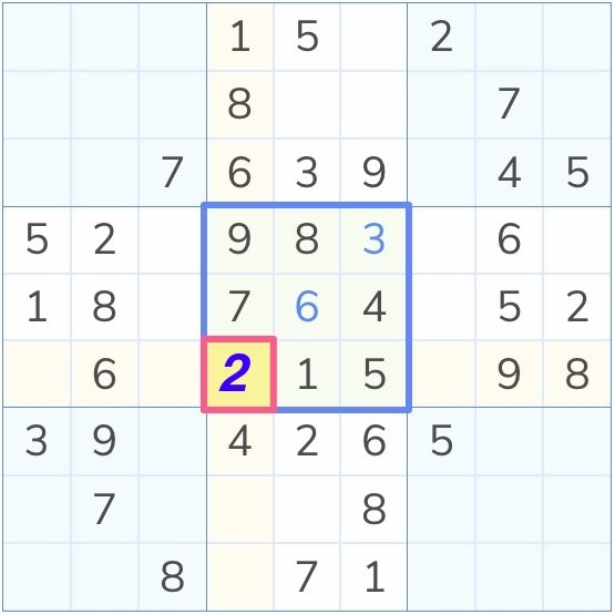 sudoku puzzle solved by the full house technique