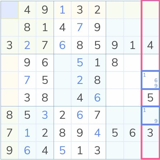 sudoku suggesting a path to hidden pairs