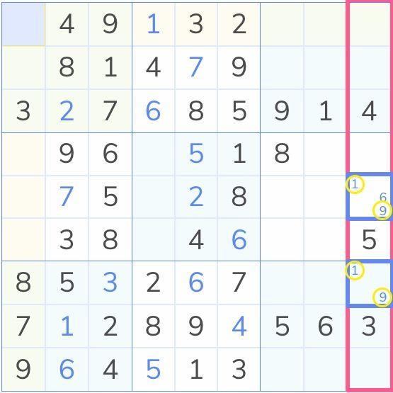 sudoku board demonstrating the hidden pairs technique