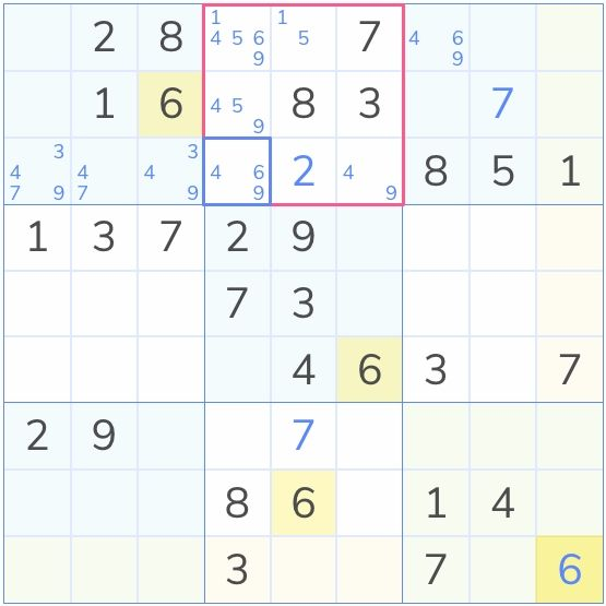an example of a sudoku puzzle that may have a hidden single