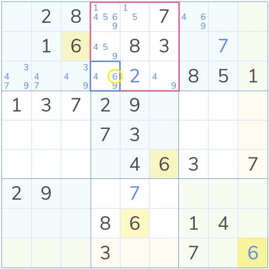 an example of a sudoku puzzle solved by the hidden single technique