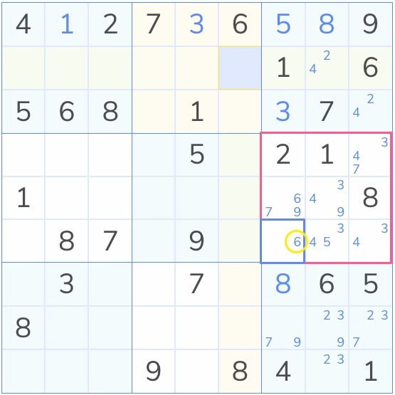 sudoku showing sole candidate solution