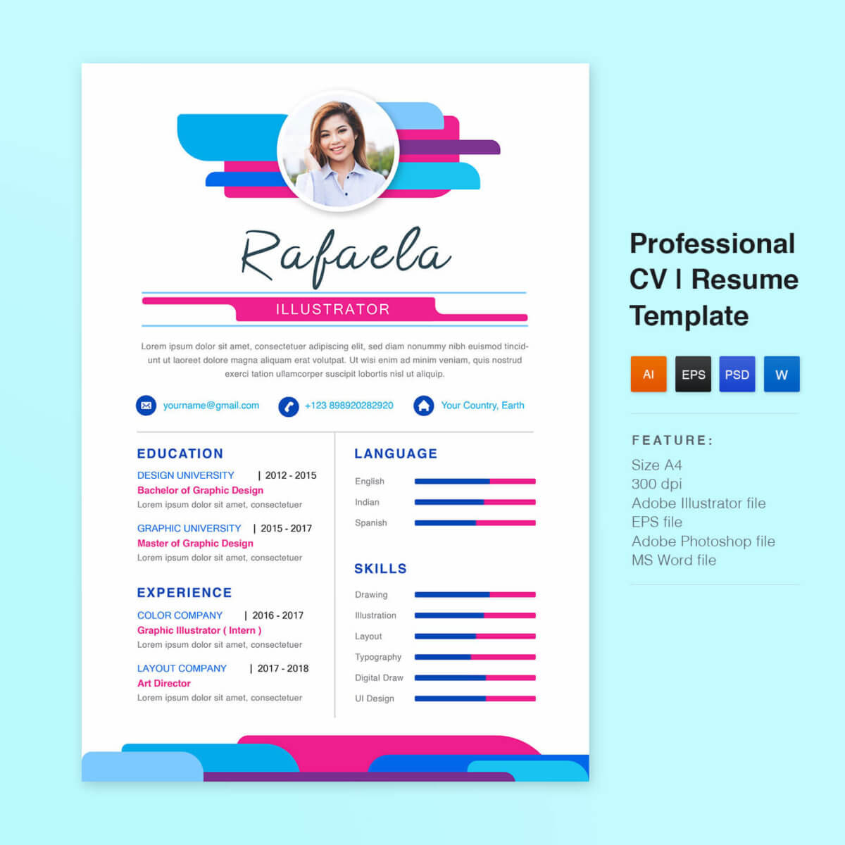 free resume template, picastock