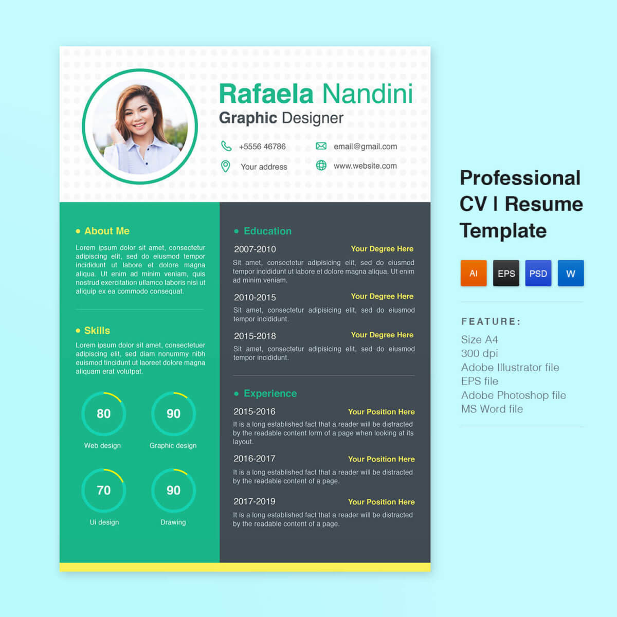 simple resume template, picastock