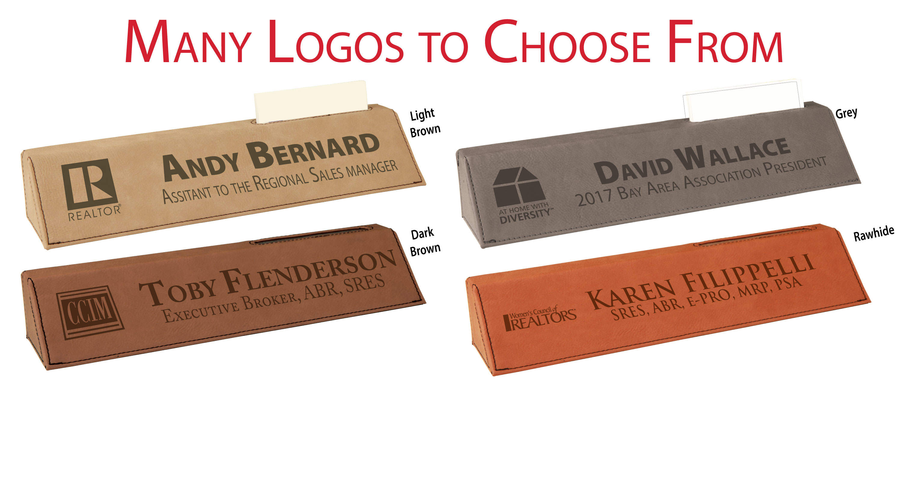 """Pick Your Logo"" Desk Wedge with Card Holder Nameplates,Desks,Wedges,Holders,Cards,Names,Plates,Badges,Cards,CardHolders,DeskWedges,"