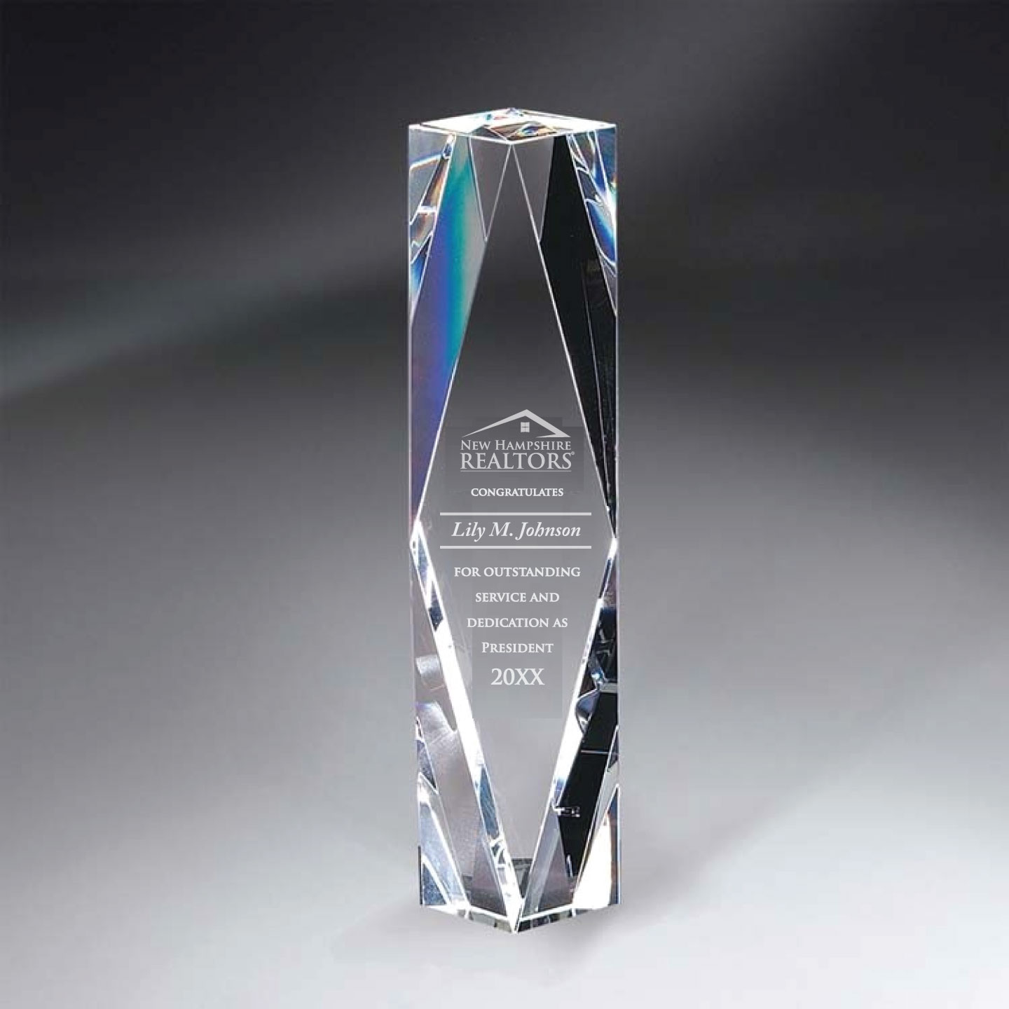 "Classic Crystal Facet Tower 8"" Awards,Award,Plaque,Plaques,Crystal,Glass"