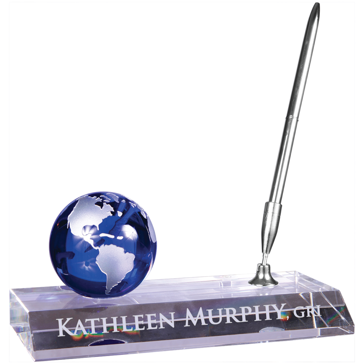 Crystal Name Base with Pen Nameplates, Desks, Wedges, Names, Plates, Badges, DeskWedges, Desk