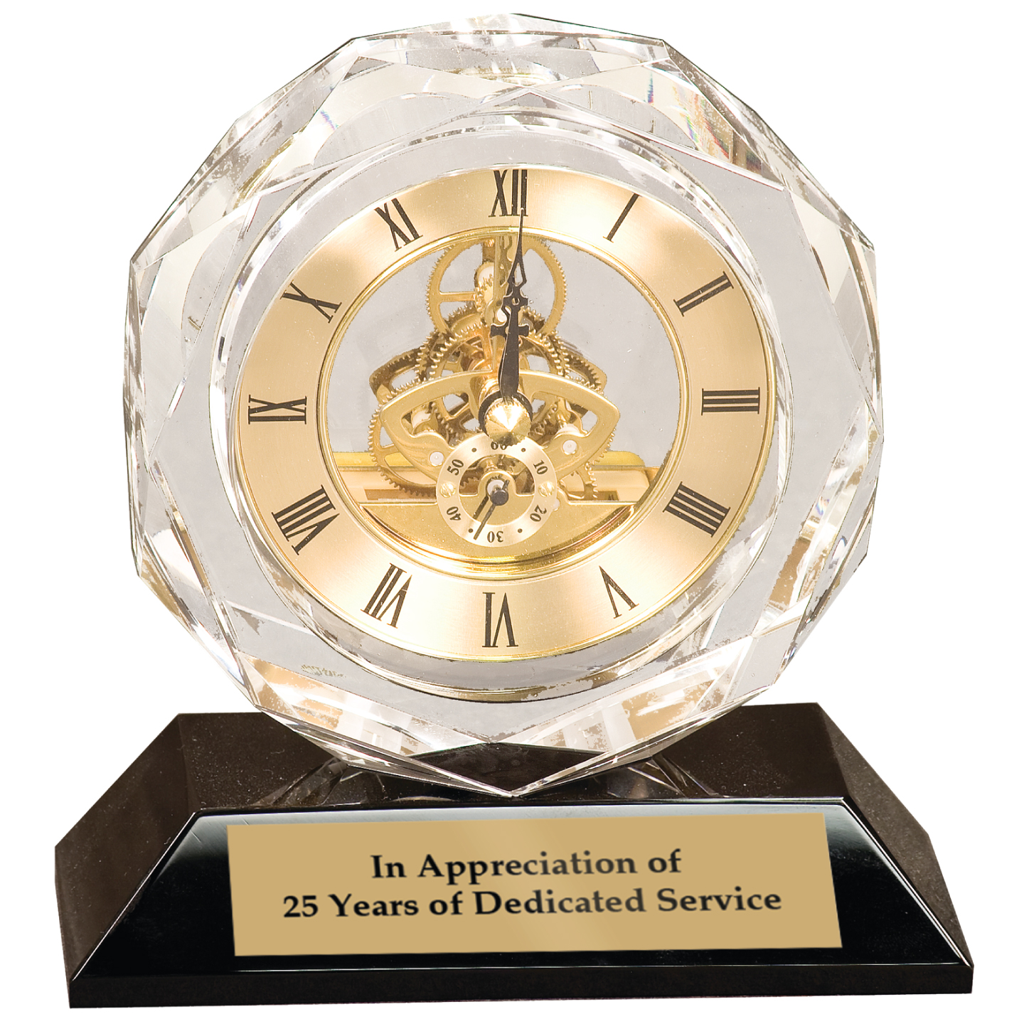 Crystal Clock on Pedestal Base Clocks, Times, Golds, Rosewoods, Pillars, Values