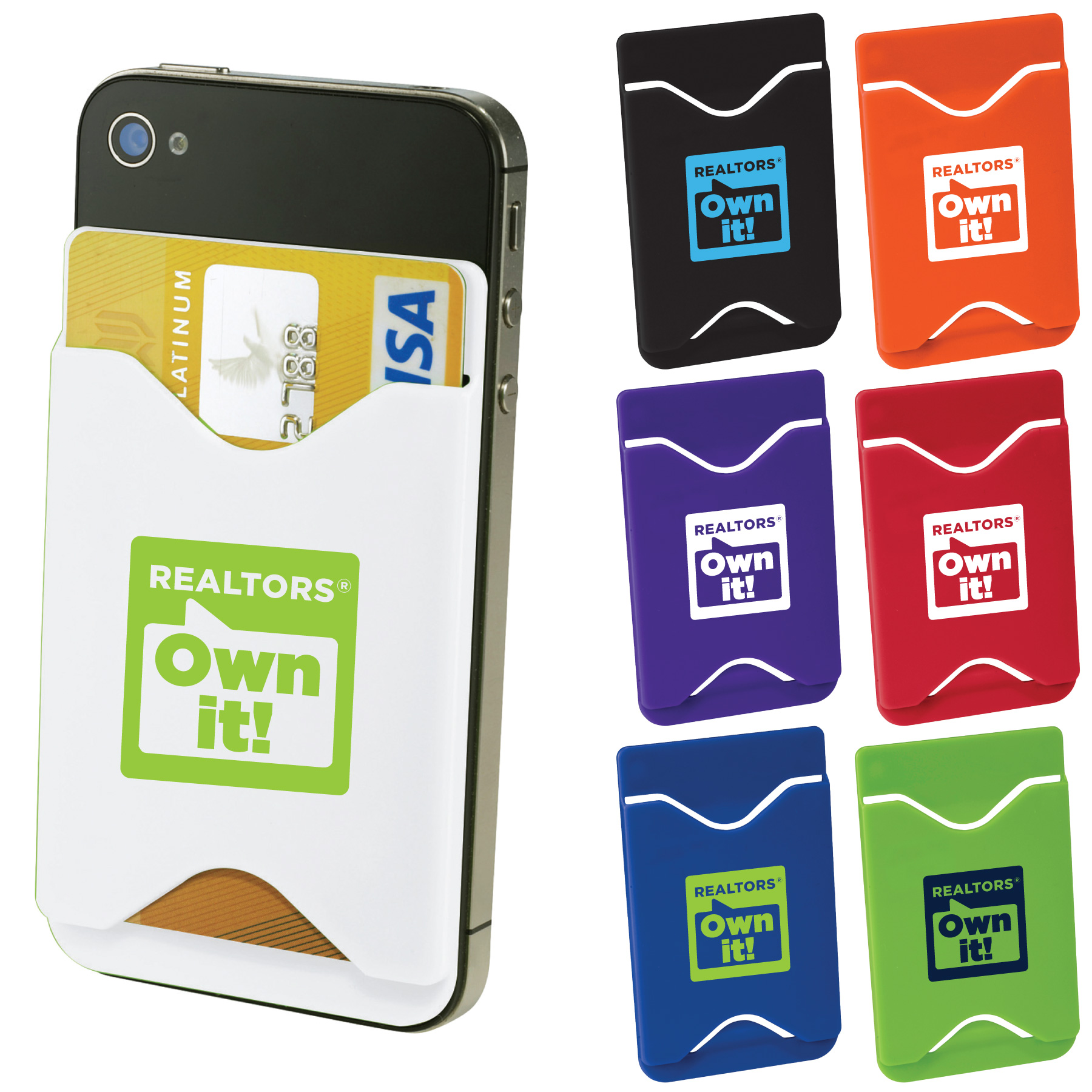 REALTORS® Own It! Cell Phone Card Holder (Special Order) Wallets,Cards,Cells,Phones,Holders,Pockets,Silicones,Plastic,Rubber,Holders