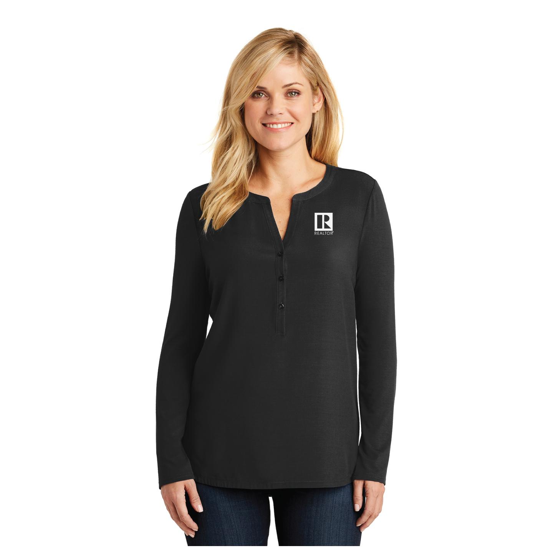 Ladies Henley Tunic Tunic, Shirt, 3/4, 3/4 Sleeve, Drapey, Flattering, Long, Boho, Dress, Chiffon