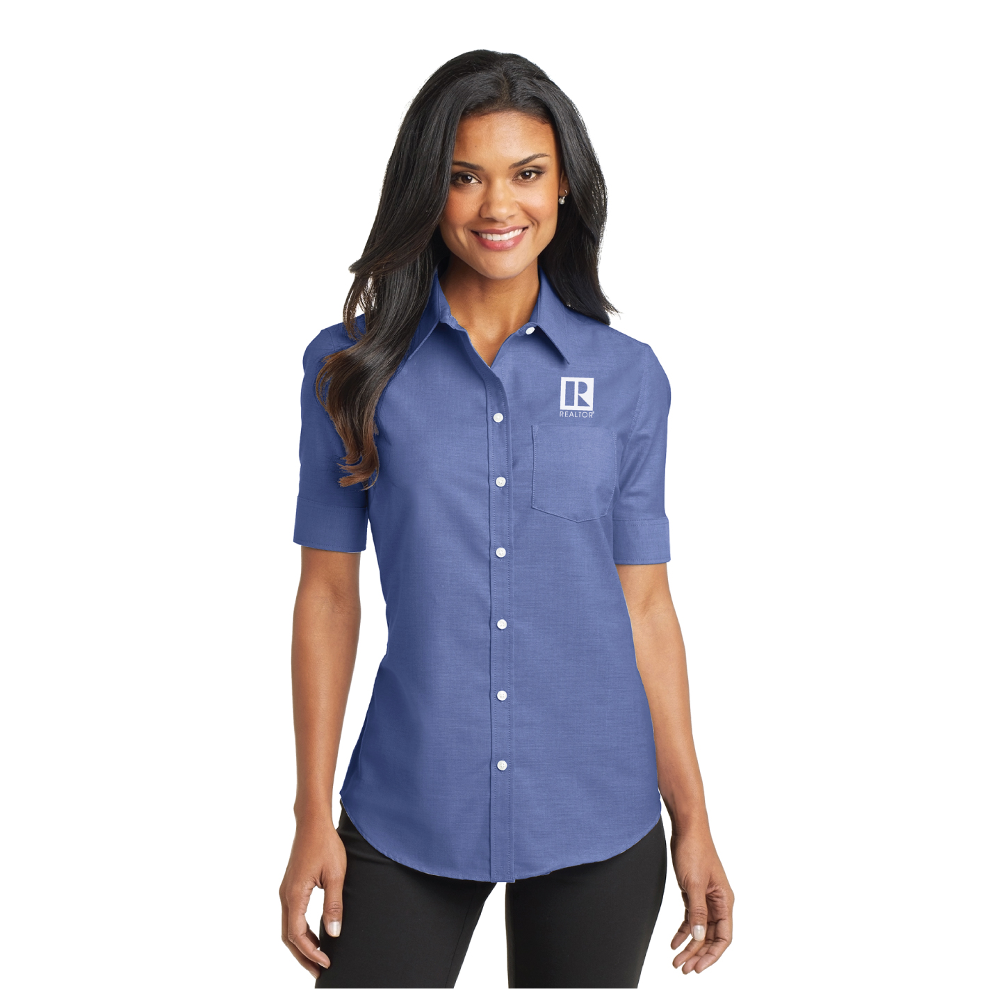 Ladies Short Sleeve Oxford Shirt Oxford, 3/4, Short Sleeve, Business, Professional, Dress, Woven, Collar, Collared, RCE