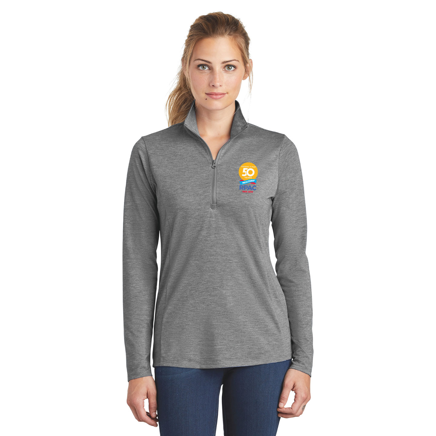 Ladies Sport Stretch 1/4 Zip Pullover RPAC Pullover,Fleece,Long Sleeve, RPAC, Fitness, Thumb, Gift, Best Seller,