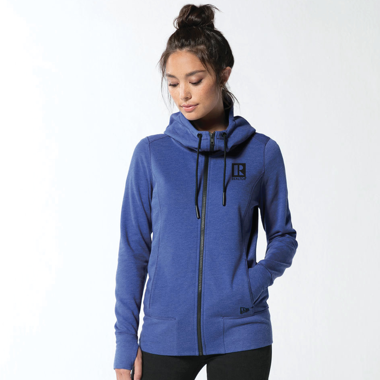 New Era Ladies Tri-Blend Cowl Neck Fleece Full-Zip Hoodie hoodies, zip, ladies, news, eras, fleeces, jackets