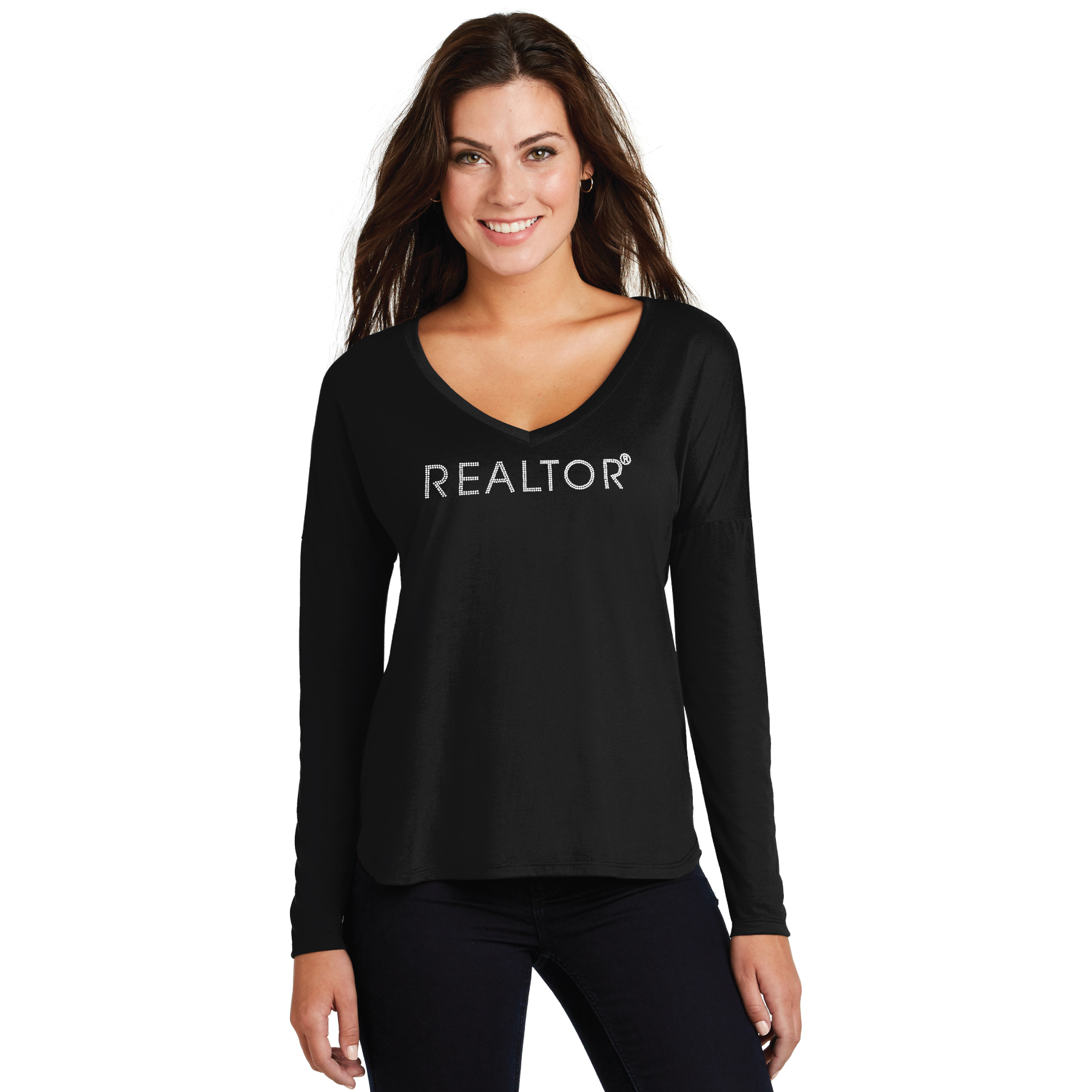 Ladies Drapey Long Sleeve Tee BLING ladies, drapey, longs, sleeves, rhinestones, blings