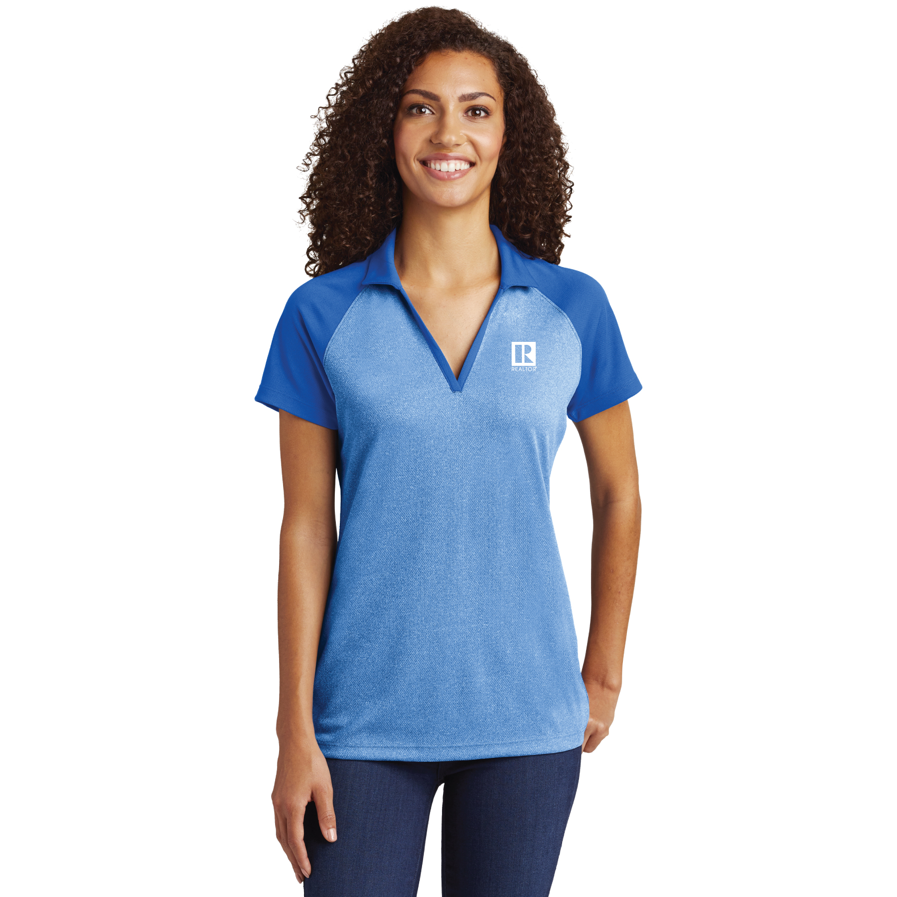 Ladies PosiCharge RacerMesh Raglan Heather Block Polo posicharge, ladies, heathers, polos, blocks