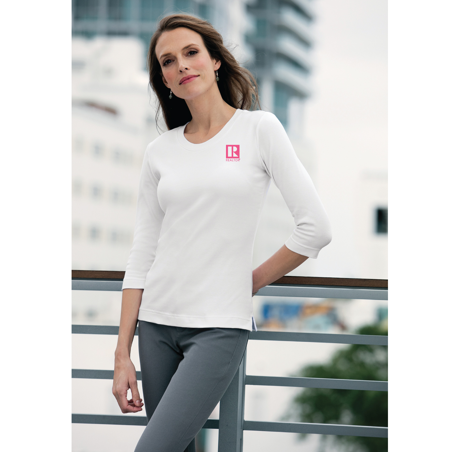 Ladies 3/4-Sleeve Scoop Neck Shirt