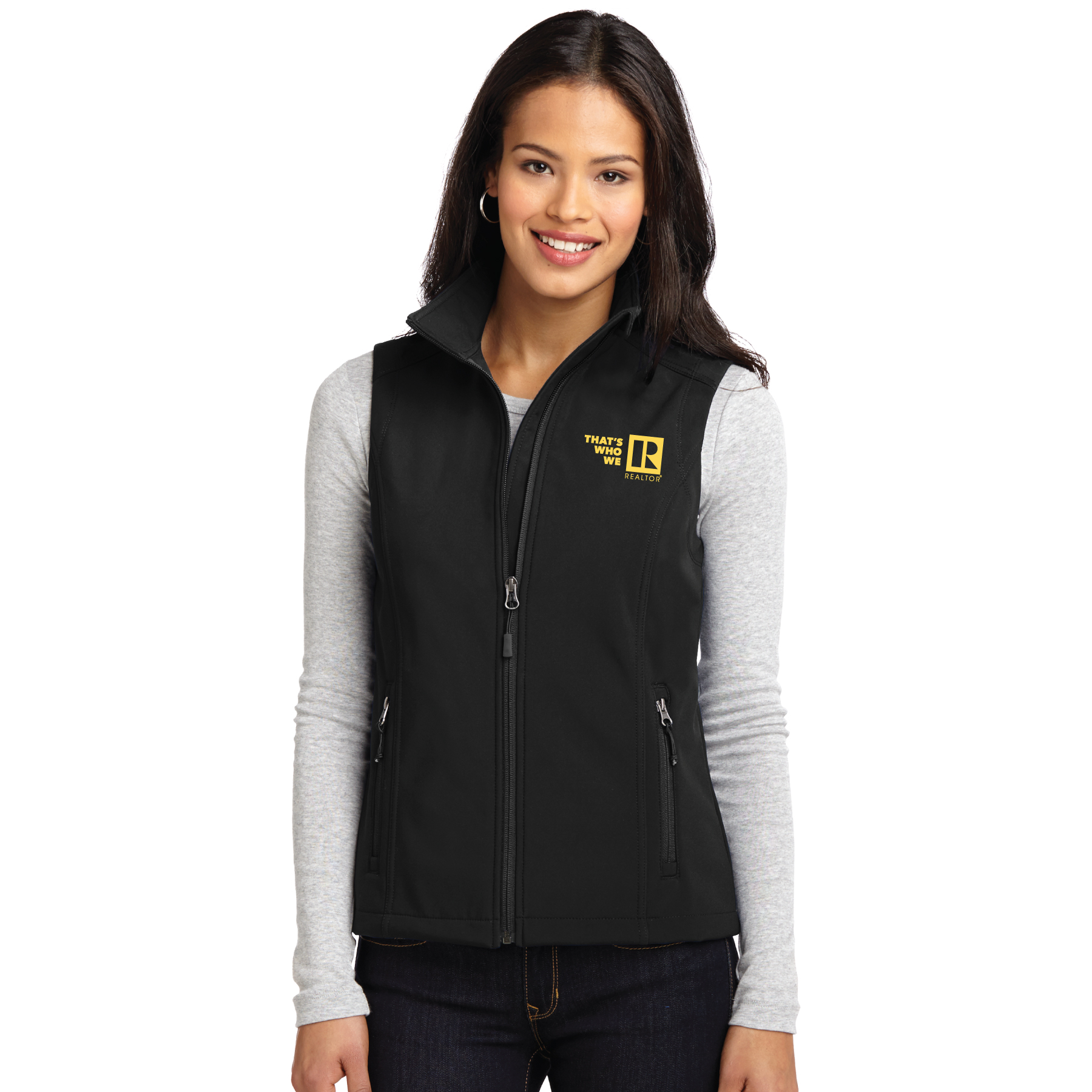 """Thats Who We R"" Ladies Core Soft Shell Vest Twwr,Thats,Whos,Wes,Ares,ladies, softs, shells, vests"