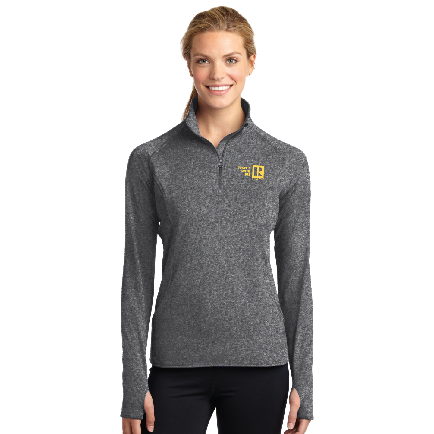 """Thats Who We R"" Ladies Sport Stretch 1/2 Zip Pullover twwr,ThatsWhoWeR,Thats,TWWR,ThatWho,ThatsWho,Twwr,Thats,Whos,We,Ares,TWWR,Thats,Whos,Are,Pullover,Fleece,Long Sleeve"