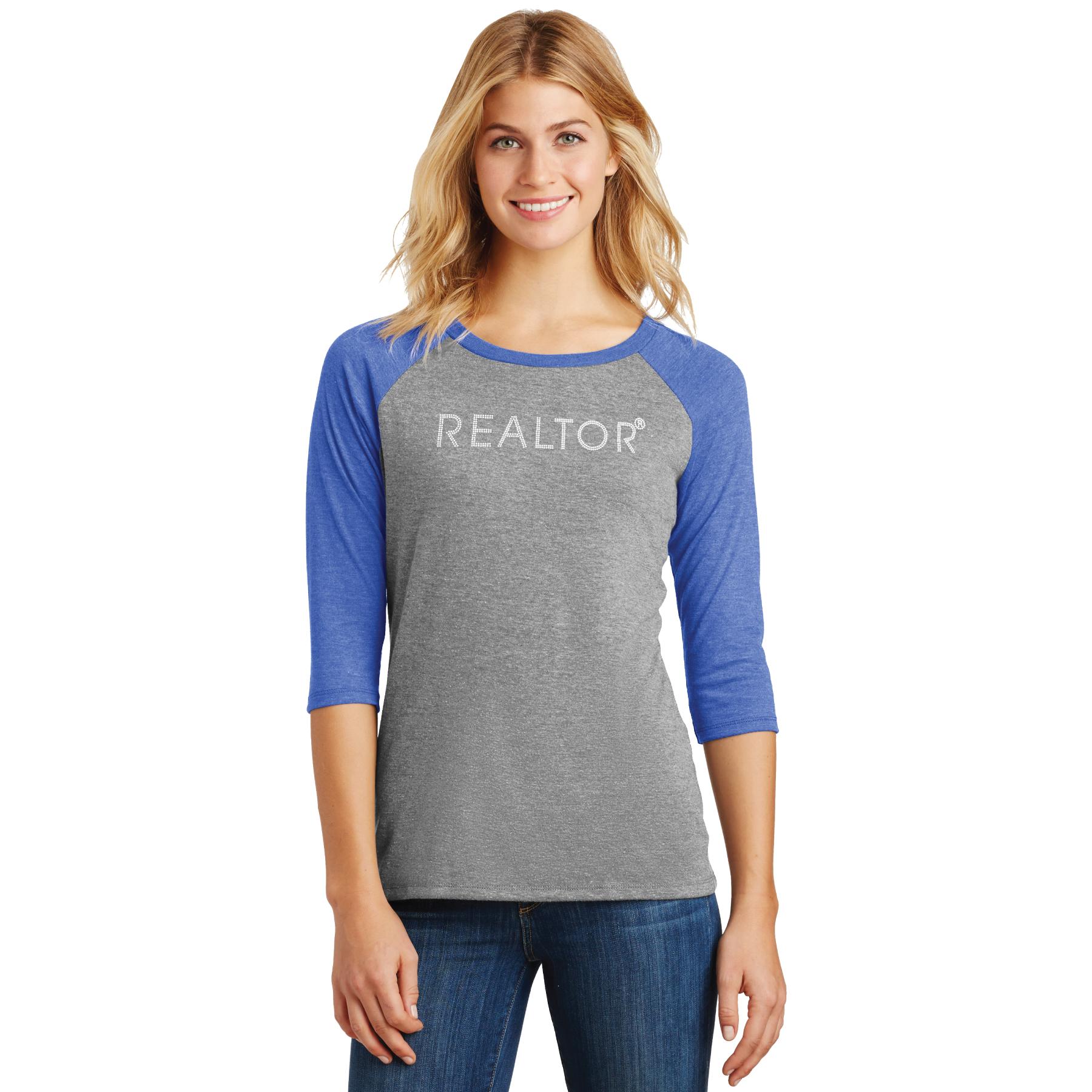 Ladies Perfect Tri® 3/4-Sleeve Raglan BLING ladies, 3/4 sleeves, raglans, baseballs, rhinestones, blings
