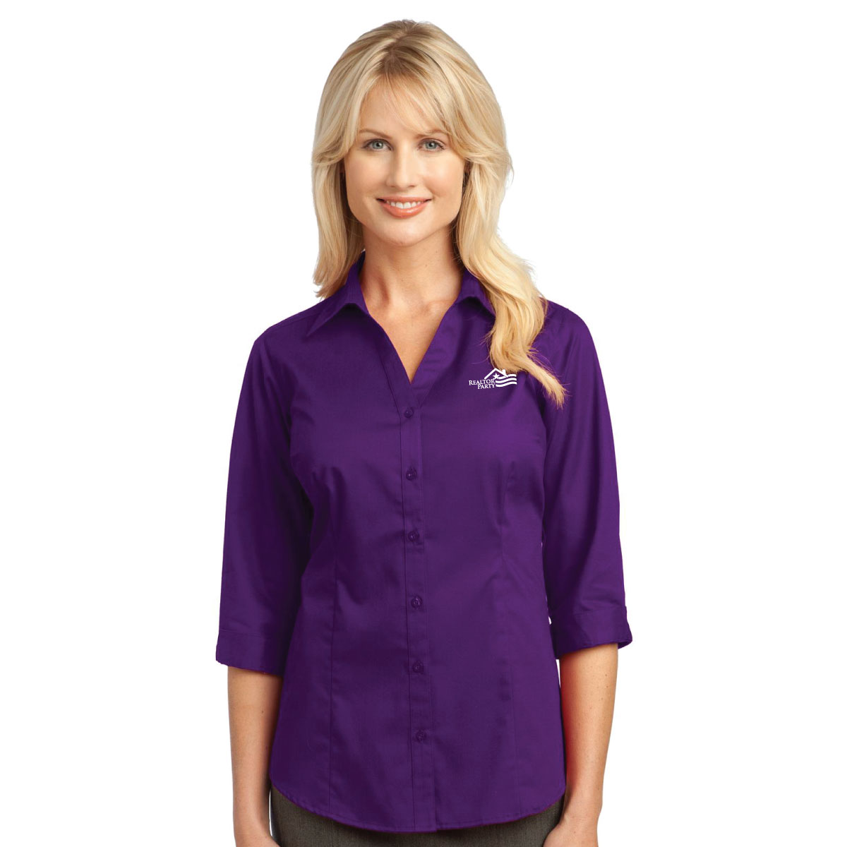 REALTOR® Party Ladies 3/4-Sleeve Blouse Twils,Ladiess,sleeves,buttons,downs,khaki,chambrey