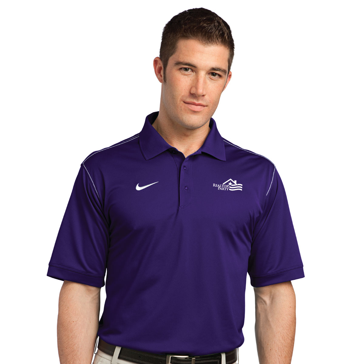 REALTOR® Party Nike Golf Dri-FIT Sport Swoosh Pique Polo Polos,Nikes,Swoshes,Golfs,Stripes