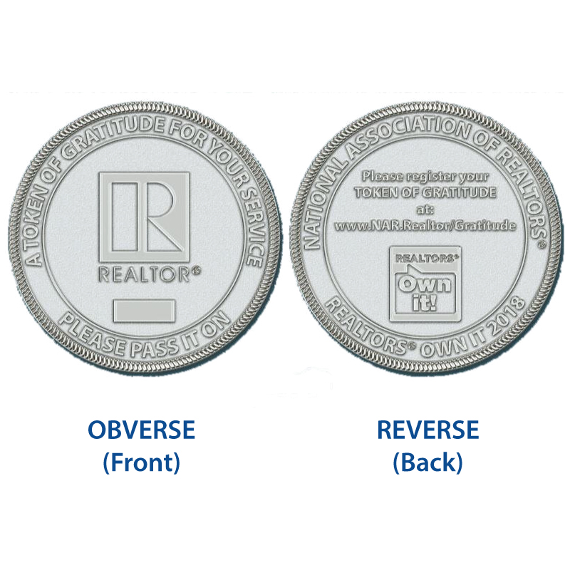 REALTORS® Own It! Gratitude Coins (In Stock) Coins,Medallions,Challenges,Owns,Its,Money