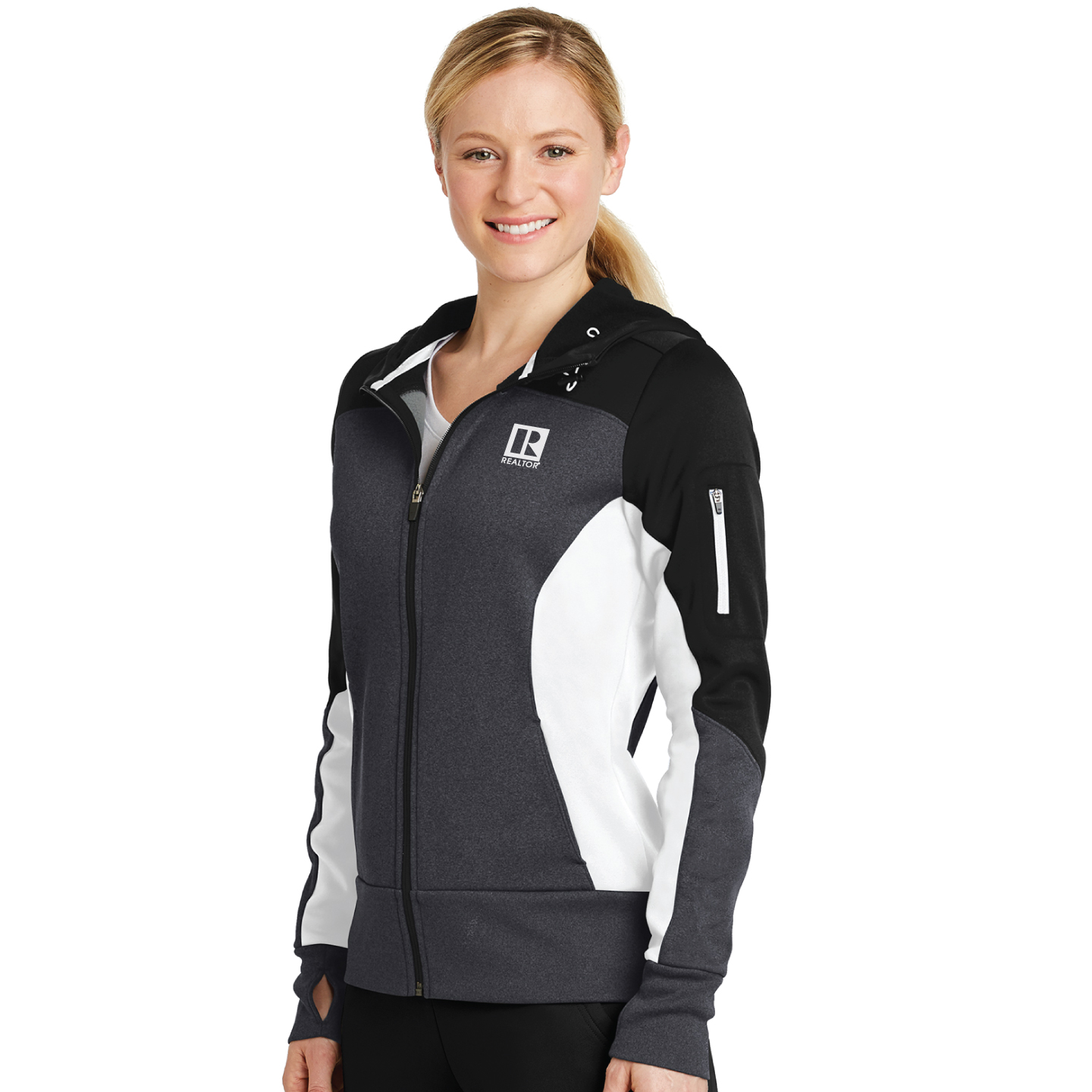 Sport-Tek Ladies Tech Fleece Colorblock Full-Zip Hooded Jacket