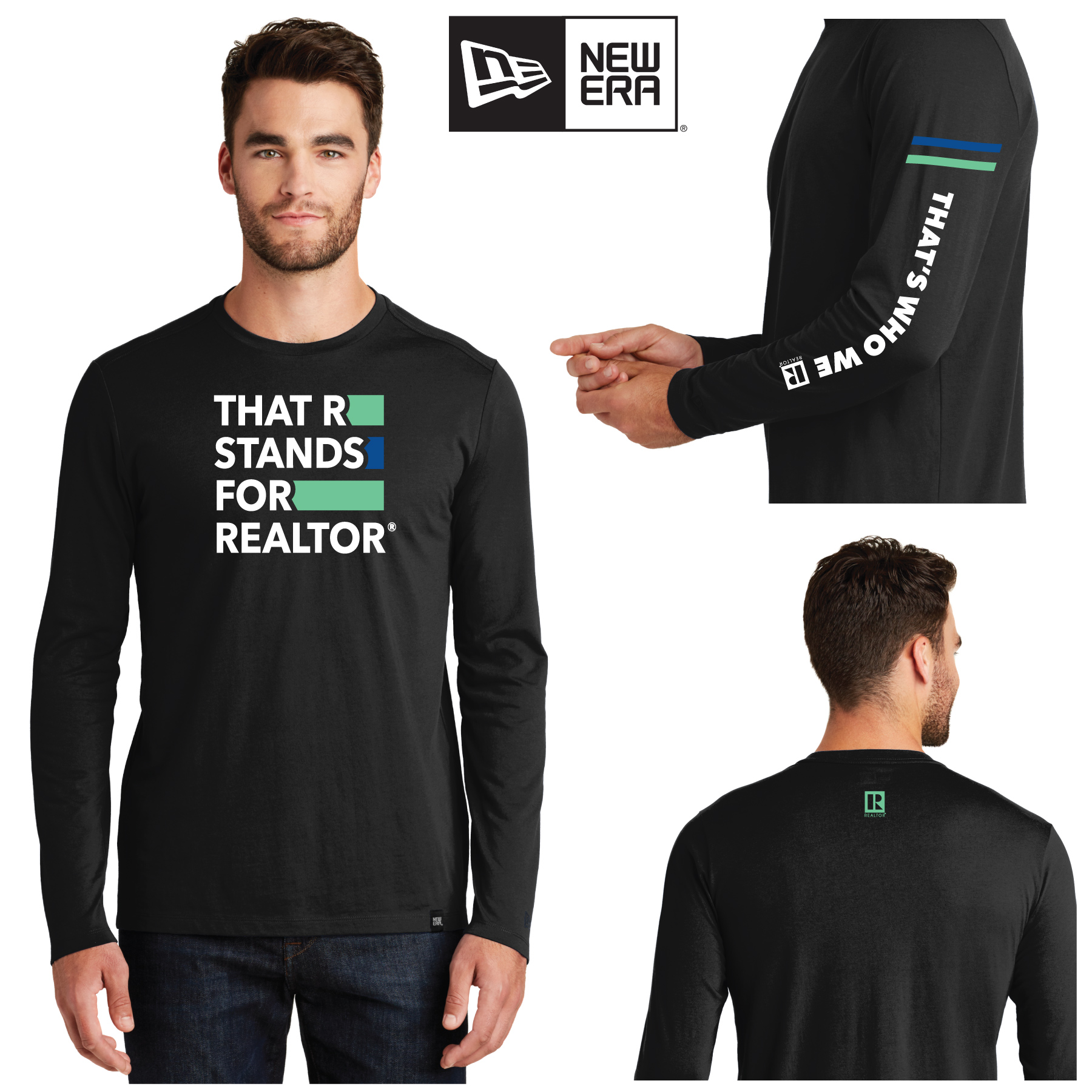 """That R Stands for REALTOR®"" Long Sleeve New Era® Tee Shirt twwr,ThatsWhoWeR,That's,TWWR,ThatWho,That'sWho,Twwr,Thats,Whos,We,Ares,Tees,T-shirt,Tee,Casual,Values,Tees,NewEra,Longs,Sleeves"