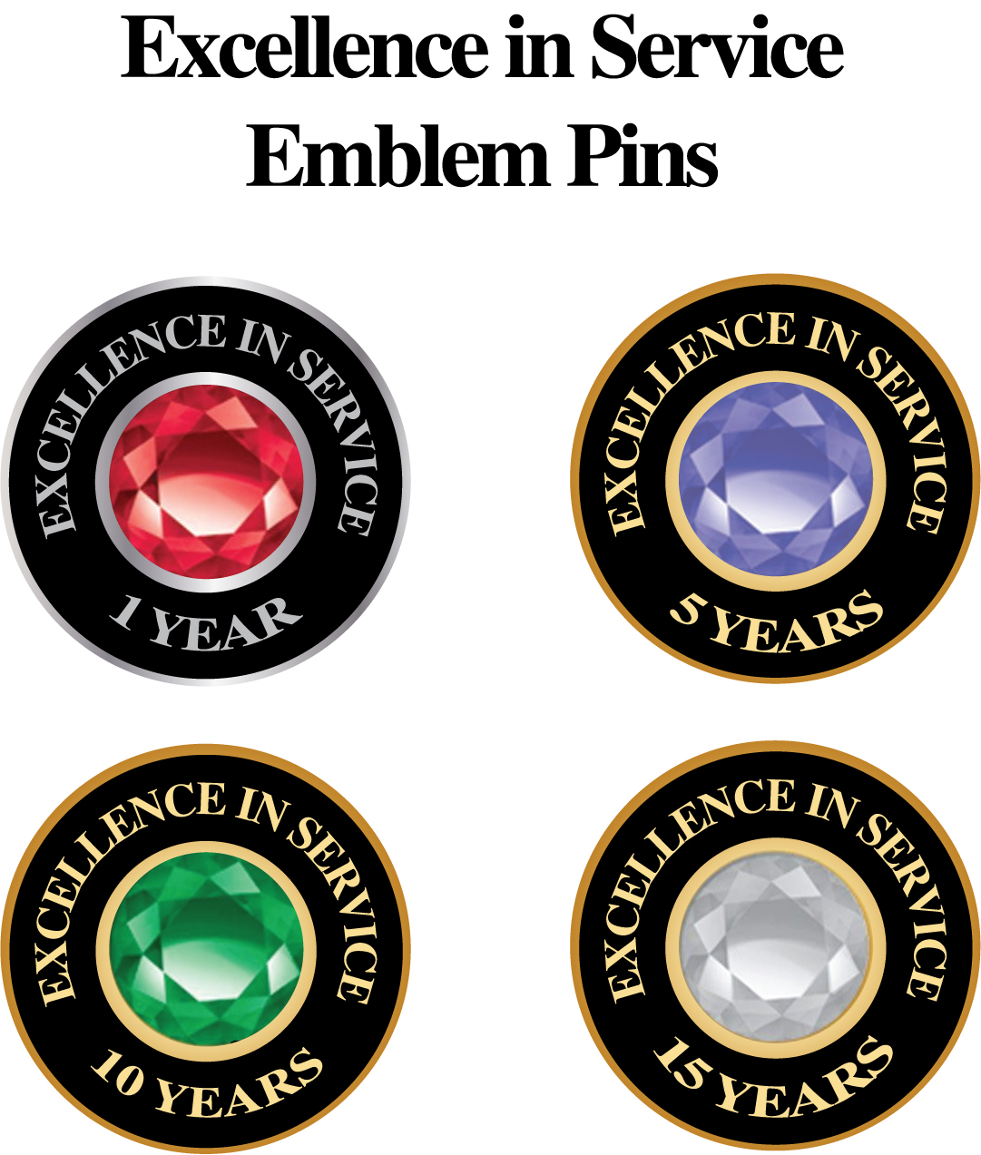Years of Excellence Emblem Pin pins, stick pins, sticks, years, services, 5, 10, 15, 25, Emblem, Stone